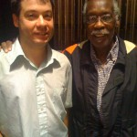w/ the legendary Clyde Stubblefield, when I played w/Robbie Fulks on the NPR What Do You Know Show, 2010